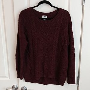 Burgundy cable knit slouchy sweater